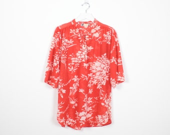 Vintage 70s Tunic Orange Red White Floral Print Hippie Shirt 1970s Boho Sheer T shirt Blouse Top Festival Bohemian Tunic M Medium L Large