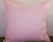 "Pink Ticking Pillow Cover, Decorative Pillow, 18"", 16"" 14"", Pink and White"
