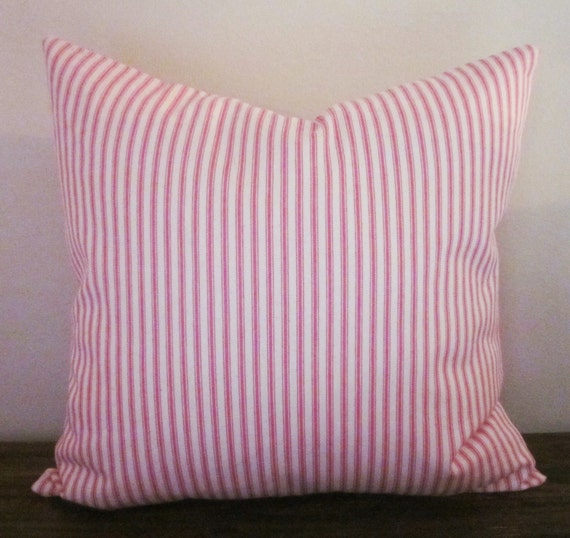 Pink Decorative Pillow Covers : Pink Ticking Pillow Cover Decorative Pillow 18