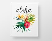 Aloha Hawaiian - print wall decor art - tropical flower palm vintage hawaii retro modern floral quote sign colorful art love family wedding