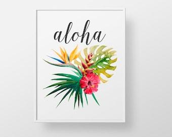 Aloha Hawaiian - print wall decor art - tropical flower palm vintage hawaii retro modern floral quote sign colorful art love family wedding