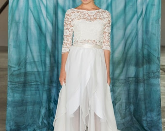 Bridal skirt, chiffon wedding skirt, hilo wedding skirt, wrap skirt, white skirt, casual wedding skirt
