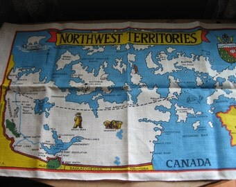 Map of Canadian Northwest Territories Printed on Polish Linen