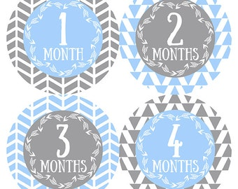 FREE GIFT, Tribal Arrow Month Stickers, Baby Blue, Blue, Gray, Grey, Monthly Baby Stickers, Baby Boy, Baby Month Stickers, Tribal Arrows