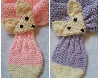 Stretch Baby/Toddler Adjustable Fox Stripe Scarf Hand Knit scarf / Neck warmer. Pink or Lilac