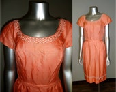 Vintage 1950s Coral Dress Duponi Silk with Rhinestone and Bead Accents