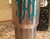 Personalized YETI Decal Vinyl Sticker Monogram of Your Choice In Your Size