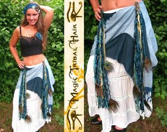 BELLYDANCE HIP COMBINATION mermaid costume Fantasy Peacock feather yarn falls & tribal belly dance hip scarf Mermaid hair piece Larp costume