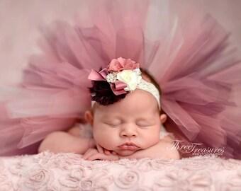 Newborn Tutu, OTT Headband, Dusty Rose, Eggplant Ivory, Flowers Lace, Rhinestones Pearls, Satin Fabric, Chiffon Bow, Quick Shipping
