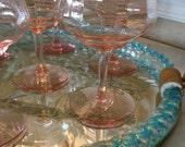 Vintage Set of Pink Stemware, Sherbet Glasses
