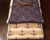 Gender Neutral Nautical Baby Burp Cloth Set - Baby Set Burp Cloths - Baby Boy Burp Cloth Set- Blue & Orange Patterned (Set of 3)