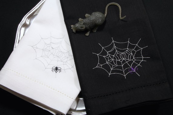 halloween spider embroidered cloth napkins halloween