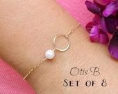 Bridesmaid gifts, set of 8: EIGHT karma bracelets, silver pearl bracelets, karma jewelry, bracelets for bridesmaids