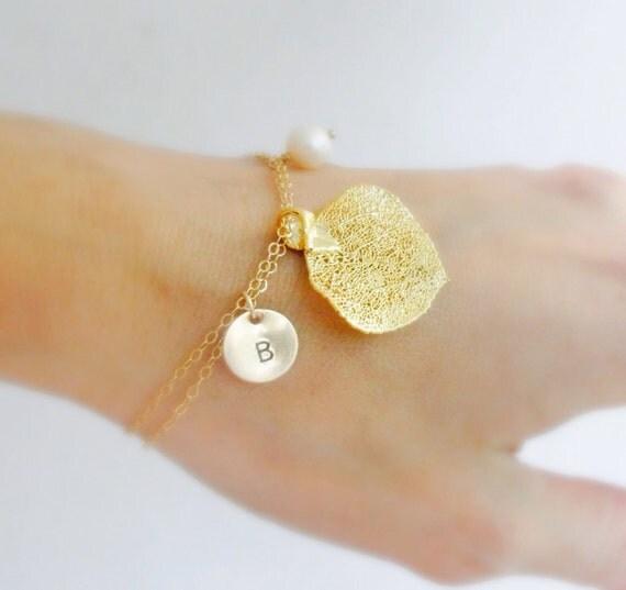 Gold Leaf Bracelets, Personalized Bridesmaid gifts, leaf jewelry, FOUR Leaf charm bracelets, fall wedding, Spring Wedding, Otis B