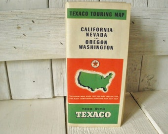 Vintage map California Nevada Oregon Washington Texaco folded paper touring 1940s