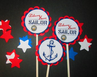 Sailor Cupcake Toppers/ Confetti/ Welcome Home/Party Supplies
