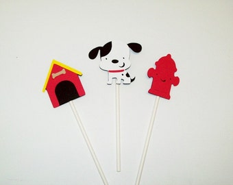 Puppy Cupcake Toppers/ Party Supplies/ Birthday Party/Cake Topper