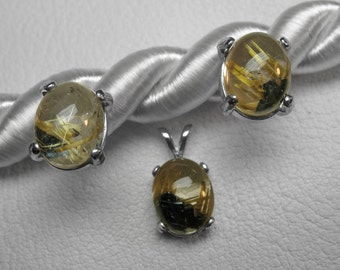 Golden Rutilated Quartz Neck and Earring Set in Silver, 10 x 8 mm