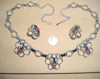 Vintage Marquise Face Mask Necklace And Clip On Earrings Mardi Gras Silver Tone Metal Enamel Choker 1950's Jewelry 52