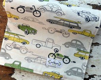 Vintage Cars & Trucks Baby Blanket - Baby Boy - Retro Rides in Green and Yellow - Minky Baby Blanket
