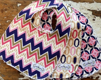 Baby Bibs for Baby Girl - Moroccan collection in Medallions, Windows & Chevron - Set of 3 - Navy, Coral, Pink, Metallic Gold