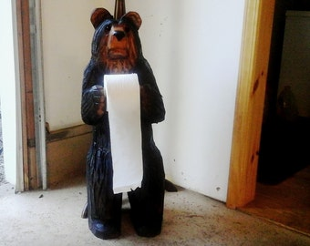 Chainsaw Carved Bear Toilet Paper Holder
