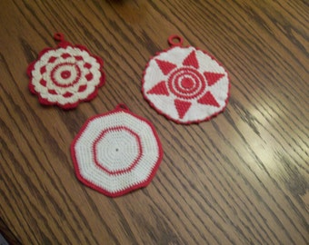 Red Crochet Potholders Lot of 3 Vintage Hand Crocheted Red White