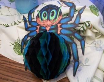 Vintage Beistle Spider Honeycomb Halloween Decoration