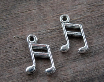 12 Silver Music Note Charms 14mm Antiqued Silver Eighth Note