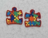 Autism Awareness Puzzle Piece (mini - set of two) MADE to ORDER - Choose COLOR - Tutu & Shirt Supplies - Iron on Applique Patch p 7079