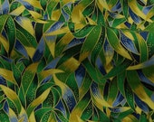 C142 - 140cmx100cm Cotton Fabric - Gilding Green leaves