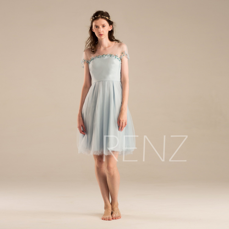 2017 Baby Blue Bridesmaid Dress Light Blue Prom Dress Short