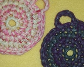 Pink and Purple Plarn Dish Scrubbies