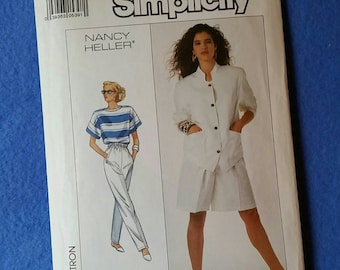 Misses Pull-on Pants, Shorts, Unlined Jacket & Top - Uncut Vintage Simplicity Sewing Pattern 8607 by Nancy Heller - size 6 8 10 (size H)