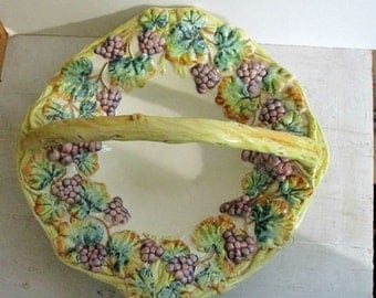 Retro Ceramic Basket, Made in Italy, Ethan Allen Fruit Bowl, Dimensional Grapevine Design, Serving, Collectible