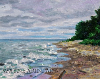 Lake Michigan Original Oil Painting 8x10 Impressionist Art
