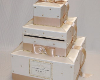 Elegant Custom made Ivory/Champagne Wedding Card Box- Gold Rhinestones