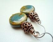 Green Earrings - Brown Earrings - Boho Earrings - Copper Jewellery - Copper Earrings - Teal Earrings - Ethnic Earrings - Bohemian Jewelry