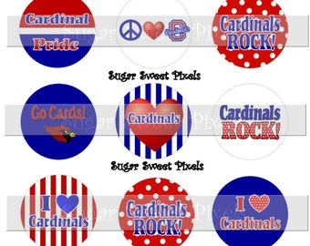 INSTANT DOWNLOAD Cardinals Royal Blue Red School Mascot 1 inch Circle Bottlecap Images 4x6 sheet