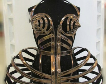 Madonna Cone Bra Pointy Corset Cage Leather Costume XS-XL