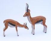 Wood toy animals/ pair of Gazelles for the Ark