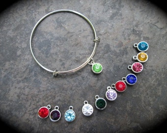 SALE Birthstone bangle bracelet with antique silver finish expandable wire bangle bracelet with sparkly Rivoli charms