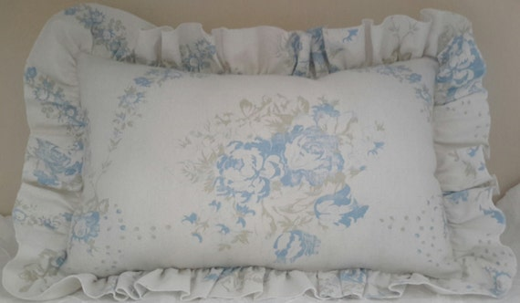 Shabby Chic Linen Pillows : Shabby Cottage Chic Ruffled Linen Pillow