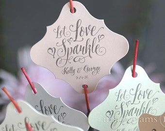 Sparkler Tags - Let Love Sparkle Send Off - Custom Wedding Favor Tags Script w. Names, Date - Sparklers Blush, Gold, Silver (24 / 36ct) SS12