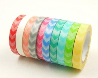 Japanese Washi Masking Tape Set - 10mm Wide  Stripes - 9 Rolls