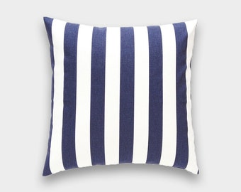 CLEARANCE 50% OFF Navy Blue Stripes Decorative Pillow Cover. 18 X 18. Throw Pillow Cover. Striped Cushion Cover