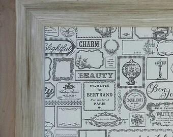Fabric Magnet Board, paris design, cream magnet board,  textile fabric