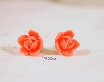 Flower Cabachons Earrings, Pink Rose Pierced Earrings. Girls Stud Earrings, Gift For a Girl or Teen  CKDesigns.us