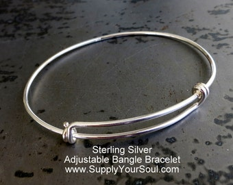 Sterling Silver Adjustable Bangle Bracelet, Add Charms or Beads, Personalize, Bracelet Supply
