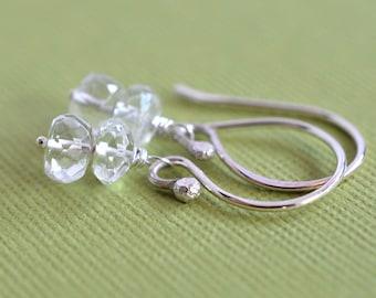 White Topaz Earrings, Stacked Earrings, Sterling Earrings, Gemstone Earrings, April Birthday, Clear Stone Earrings, Colorless Gemstone